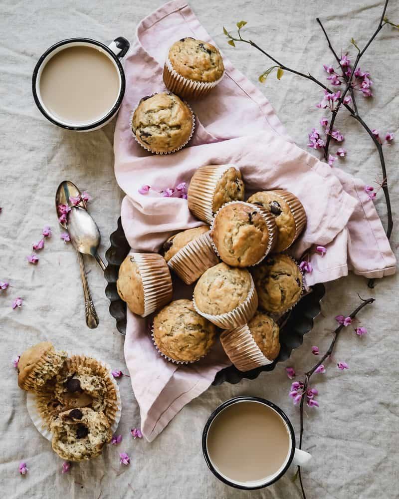 banana muffins and coffee mugs