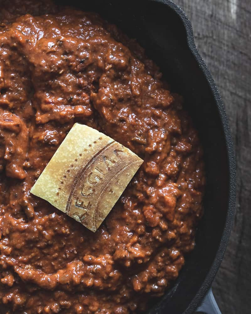 authentic bolognese sauce with parmigiano reggiano cheese rind