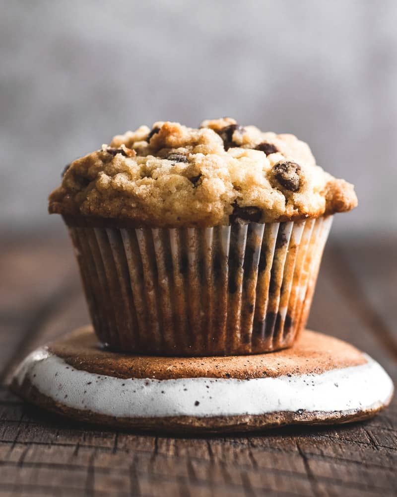 one chocolate chip muffin on a small plate