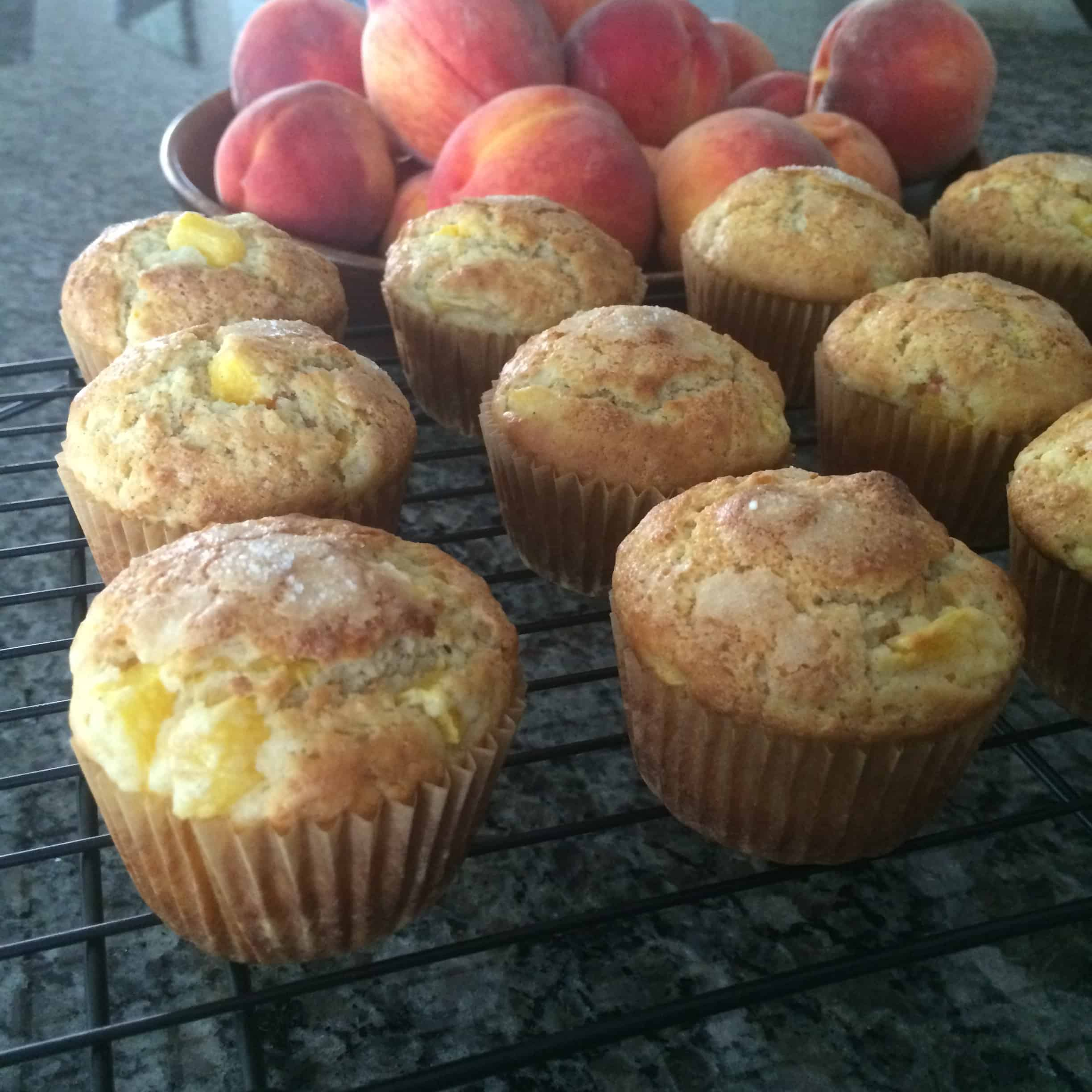 Freshly baked peach muffins