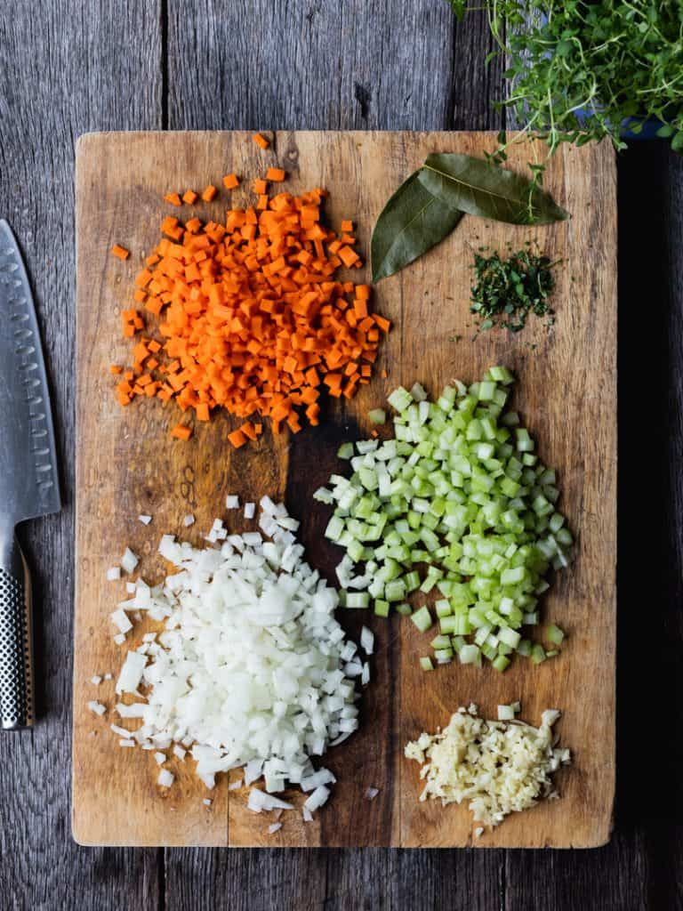 Shepherd's Pie ingredients on cutting board