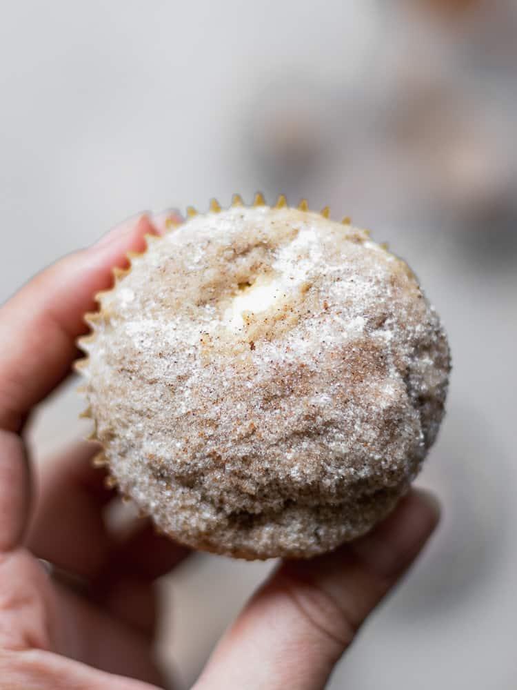 handheld muffin close up