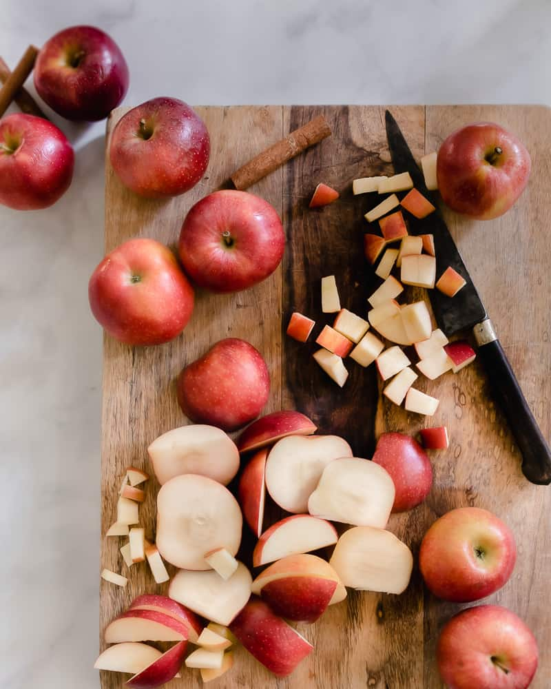 apples being chopped for apple butter