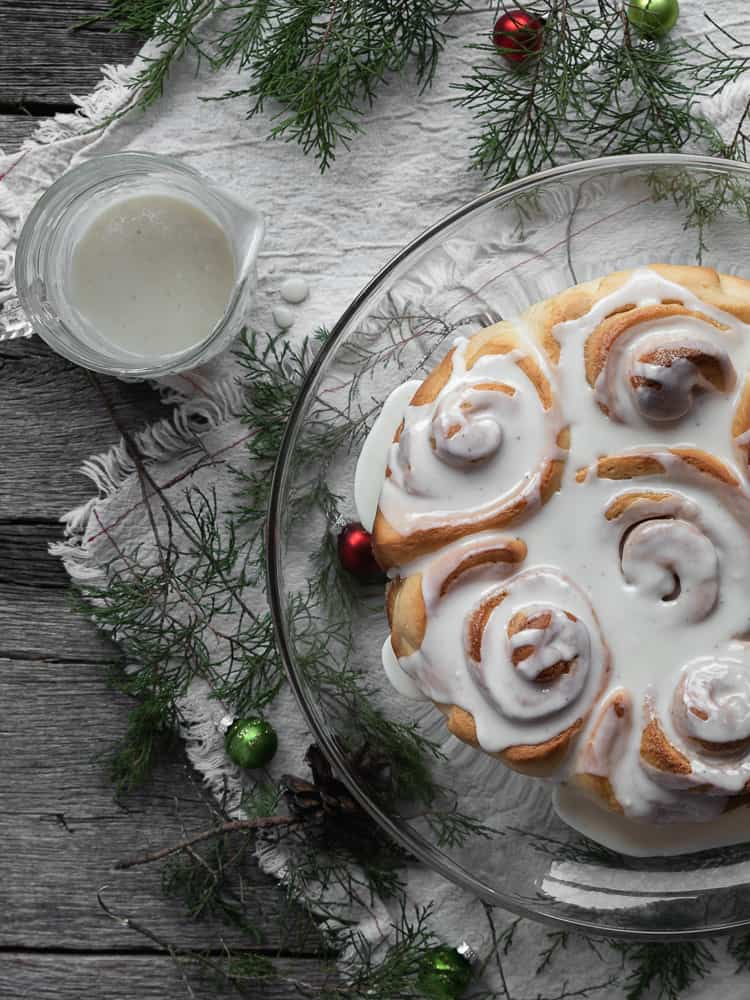 Eggnog sweet rolls with holiday greenery and decor