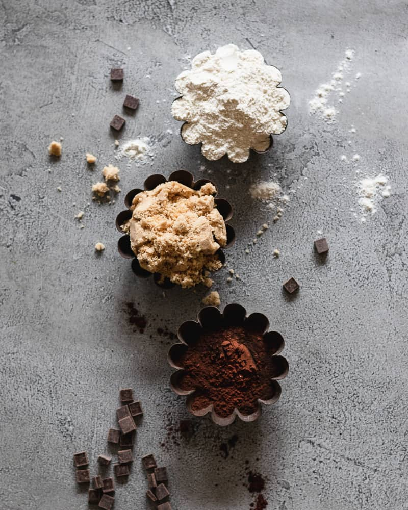 ingredients for chocolate muffins