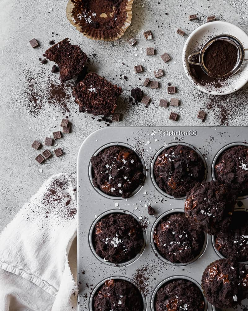 overhead of dark chocolate olive oil muffins