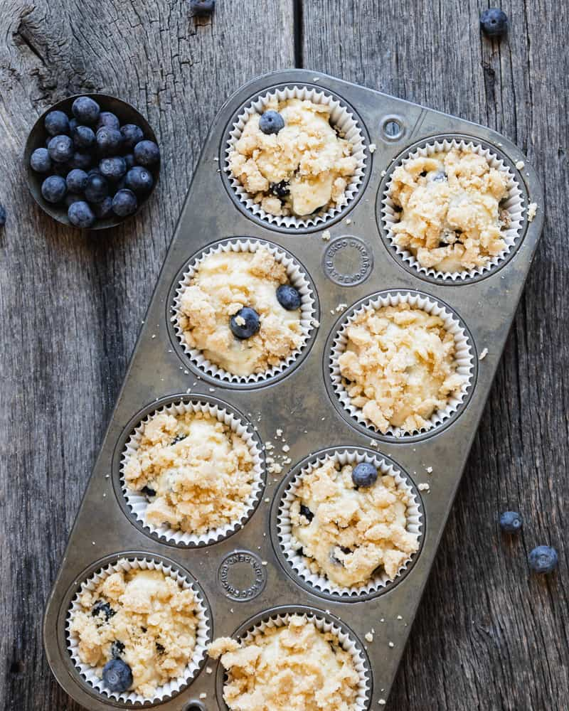 blueberry muffins before baking
