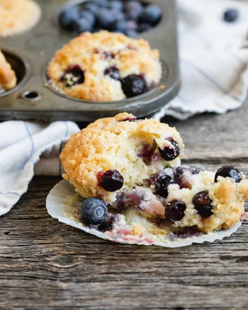 close up of interior of blueberry muffin