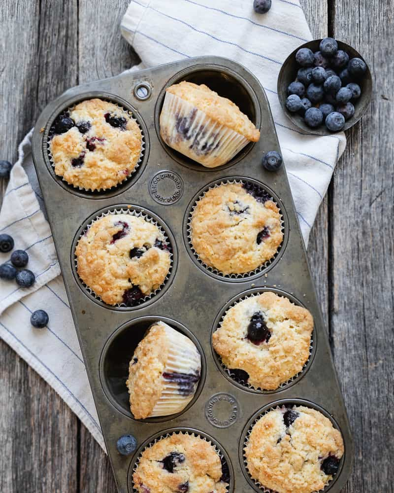 blueberry streusel muffins in antique muffin tin