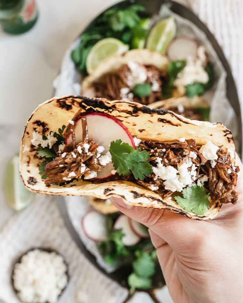 hand holding barbacoa beef taco