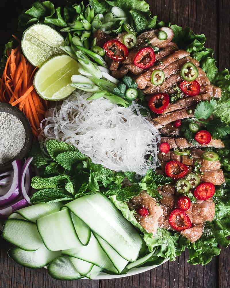 platter of spicy thai duck salad