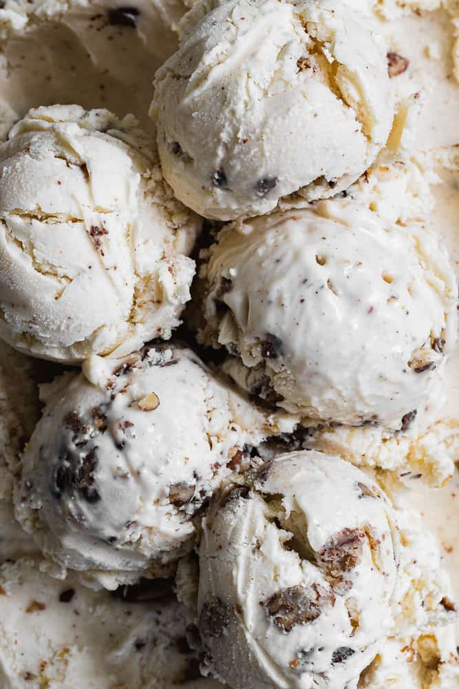 scoops of butter pecan ice cream