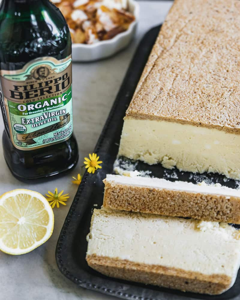 lemon semifreddo on tray next to Filippo Berio Olive Oil bottle