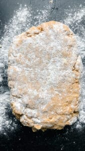 scone dough on floured surface
