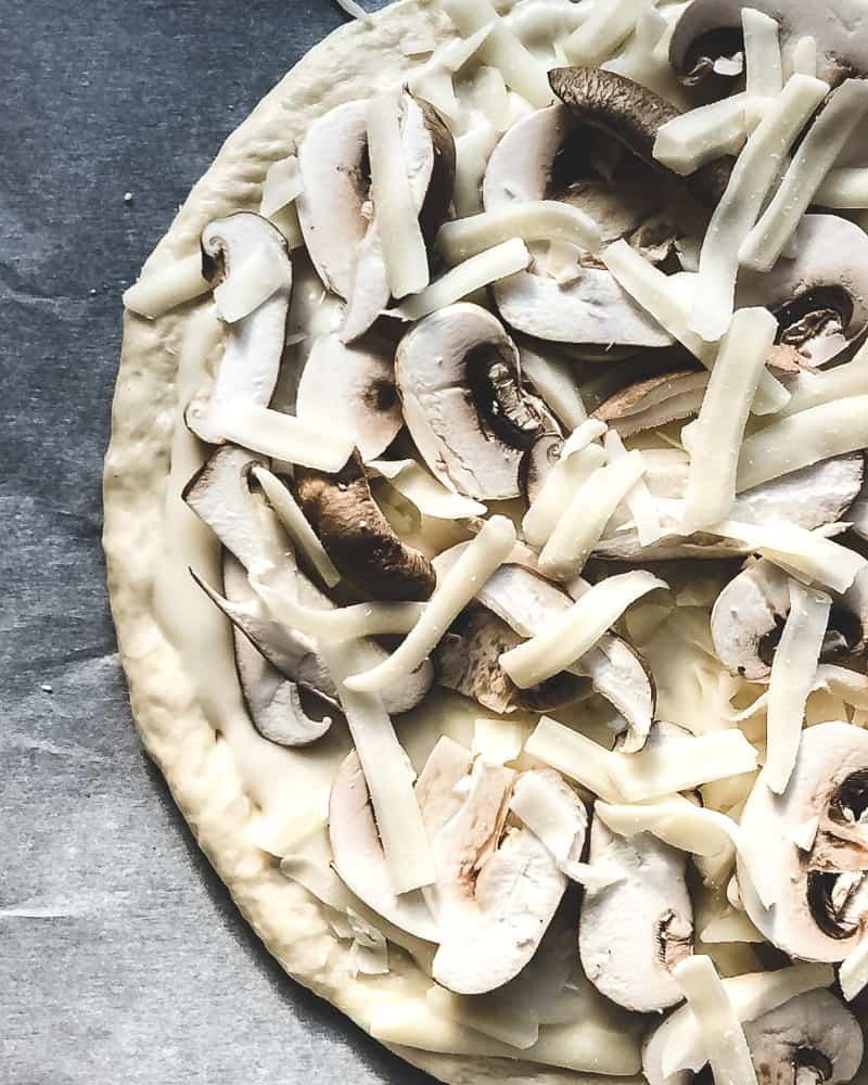 white mushroom pizza prebake