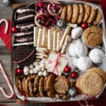 box full of a variety of christmas cookies and treats
