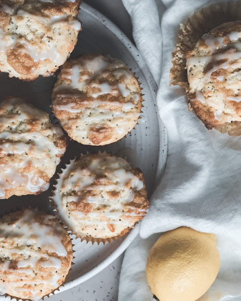 Lemon Poppy Seed Muffins on white plate