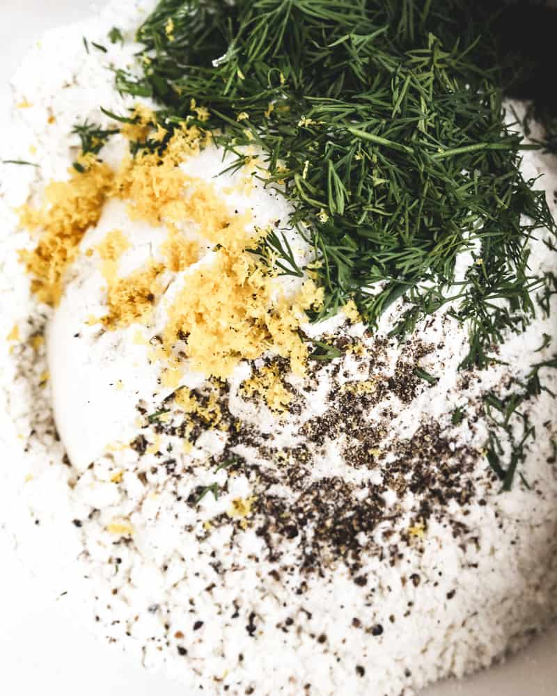 close up of dry ingredients for savory muffins