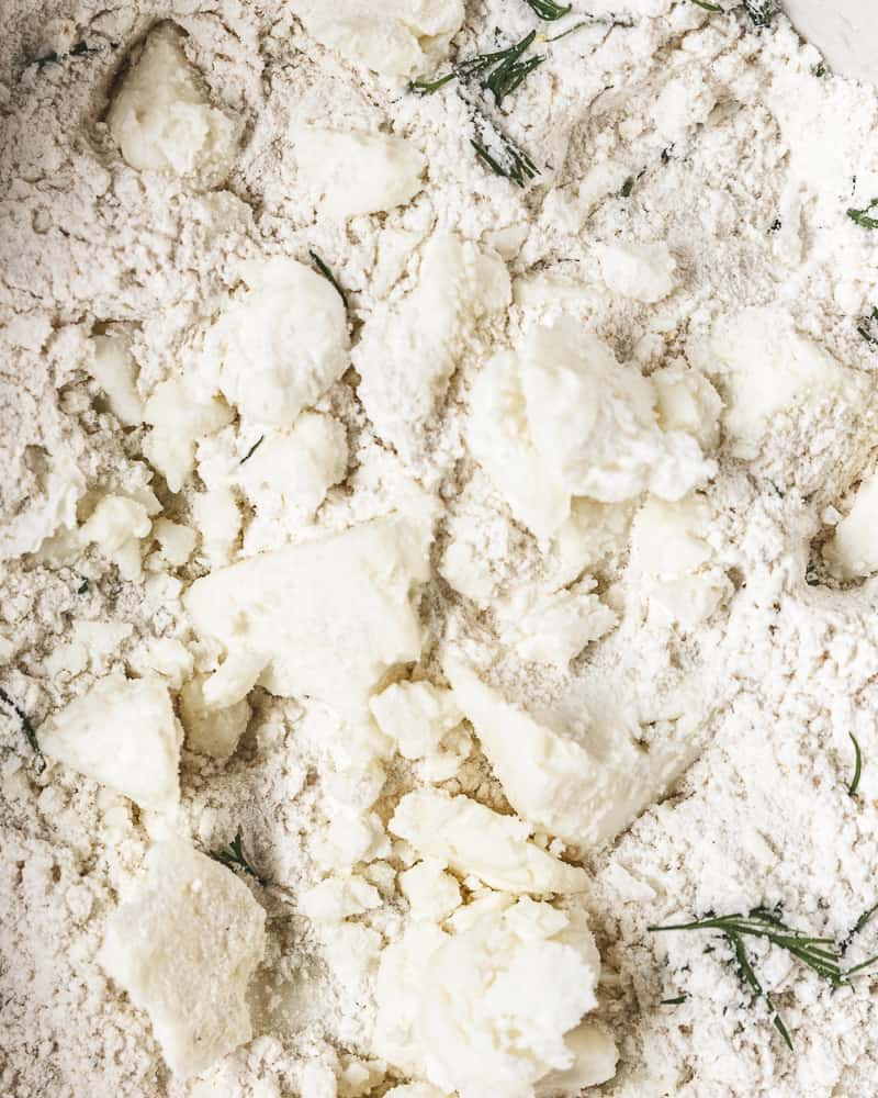 close up of dry ingredients mixed with feta