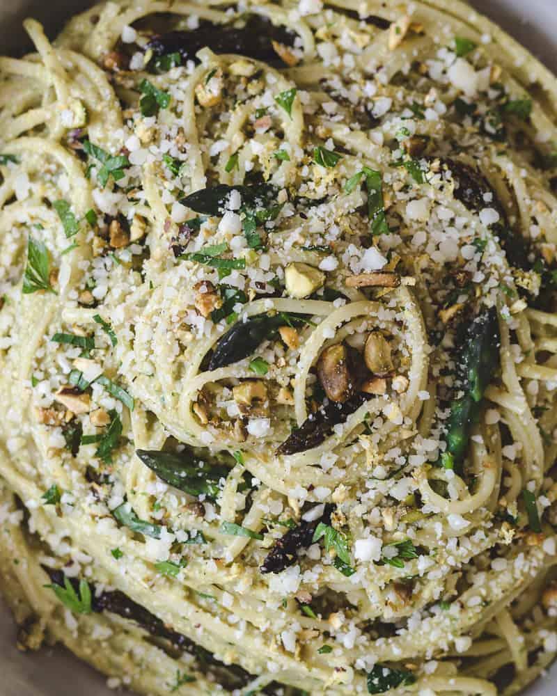 Close up of roasted asparagus pesto linguine